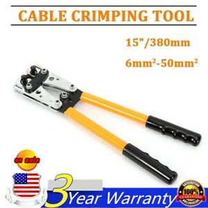 Large Wire Terminal Crimping Tool 6 50mm Cable Lug Crimper Terminal W 6 Dies