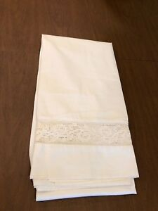 Antique Victorian Linen Handmade Knot Work Lace Flat Bed Sheet 82 W X 84 L Heavy
