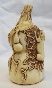 Antique Signed Bovine Bone Snuff Bottle Rats On Vine With Gourds Early 20thc