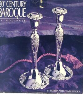 Pair Of Silverplated 20th Century Barque By Godinger 8 Candle Stick Holders