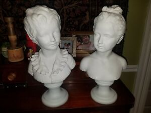 French Bisque Boy And Girl Statue Bust After Houdon 16 5 Louise Brongniart