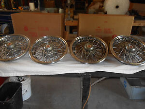 14 Wire Wheel Hub Caps Set Of Four Complete W Back Hubs W1 20