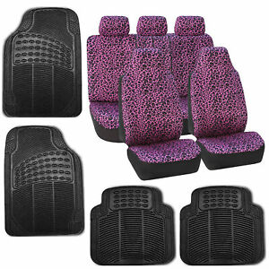 Car Seat Covers Purple Leopard Velour With Rubber Floor Mat Set