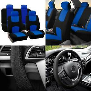 Full Cover Set Bucket Covers Solid Bench Blue W balck Silicone Steering Cover