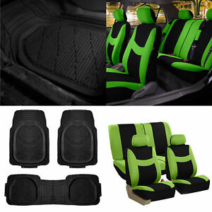 Green Black Car Seat Covers Full Set For Auto W Deep Dish Rubber Floor Mats