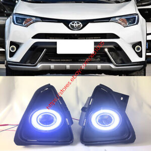 Direct Fit Toyota Rav4 2016 Led Drl Daytime Fog Light Projector angel Eye Kits