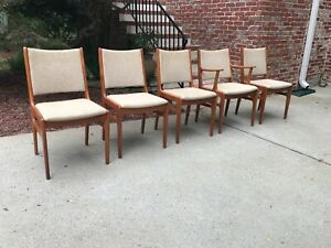 4 Mid Century Teak D Scan Dining Chairs