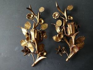 Pair Vintage Gold Painted Medal Italian Floral Candle Sconces