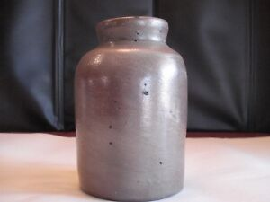 Vintage Antique Salt Glazed Small Canning Crock 6 X 2 5 X 4