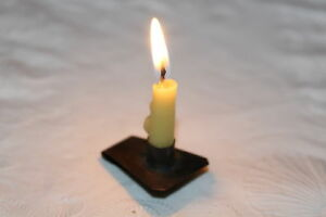 Primitive Early Miniature 18th Century Style Tin Book Light Lite Candle Holder
