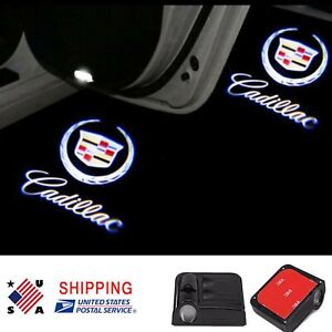 Pair Wireless Led Door Step Courtesy Light Ghost Shadow Logo Projector Cadillac