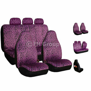 Purple Leopard Velour Seat Covers For Car Suv Van Universal Fitment