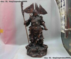 Chinese Copper Bronze Stand Dragon Guan Gong Yu Hold Knife Warrior God Statue