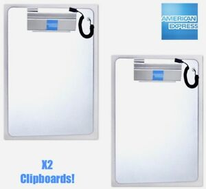 American Express Card Clipboard In Banking Silver 9 X 13 Lot Of 2 New
