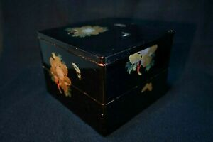 Vintage Japanese Lacquerware Jubako Wood Food Lunch Box 2 Layer Peony Butterfly