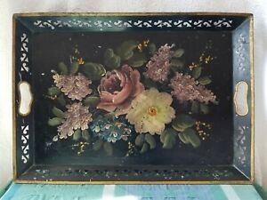 Vintage Metal Tray Toleware Hand Painted Flowers Laced Edge Gold Guilded