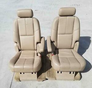 2008 Gmc Denali Yukon Xl Second Row Seat Set Oem Leather Tan
