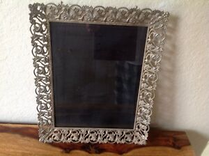 Antique Victorian Brass Gilt Silver Filigree Picture Frame W Glass 13 X 10 Vgvc
