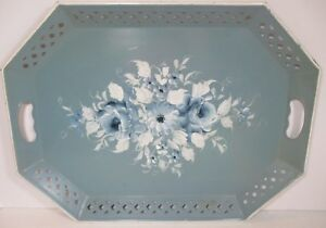 Vtg Hand Painted Nashco Metal Toleware Serving Tray With Beautiful Flowers 20