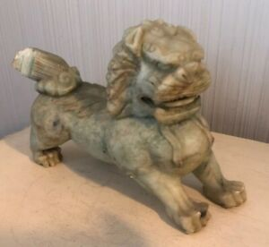 Large Antique Asian Chinese Carved Jade Green Stone Foo Dog Lion Statue Figure