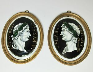 Two 17th Century Limoges Enamel On Copper Roman Emperors Plaques Antique French