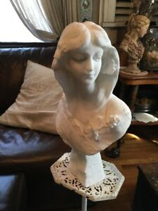 Fabulous Antique Marble Art Deco Lady Bust Large Finely Detailed