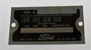 1955 1957 Ford Thunderbird Data Plate Serial Number Id Tag