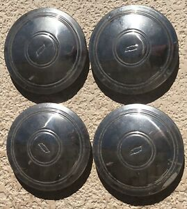 1967 82 Chevy Corvette Camaro Chevelle Bowtie Baby Moon Hubcaps Set Of 4