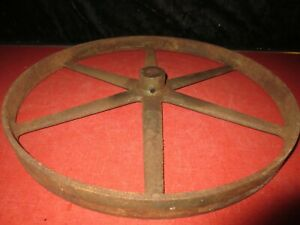 Vtg Cast Iron Keyed 17 Offset Spokes Well Water Pump Belt Pulley F E Myers 4508
