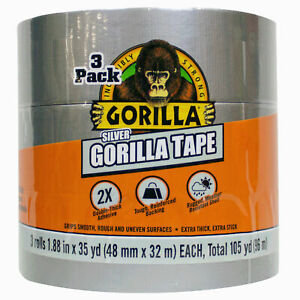 Gorilla Silver Duct Tape 1 88 Wide 35 Yd X 3 Rolls Pack