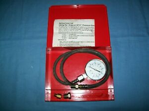 Snap On Mt37 Oil Pressure Gauge In Red Metal Case Vintage