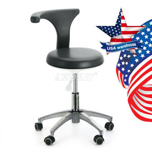 Us Black Dentist Doctor Assistant Stool Adjustable Mobile Chair Pu Leather