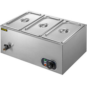 3 pan Food Warmer Steam Table Steamer 3 Pots Large Capacity Portable 850w 110v