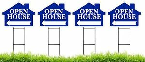 Large 18 x24 Open House Blue House Shaped Sign Kit With Stands 4 Pack