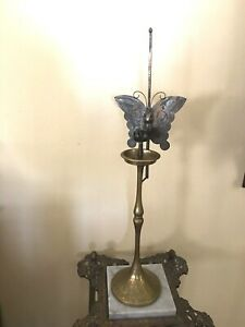 Antique Korean Choson Etched Brass Butterfly Candle Stand
