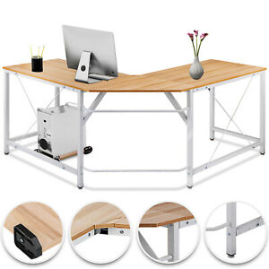 L shaped Corner Computer Desk Home Office Powder coated Smooth Tabletop Pc Wood