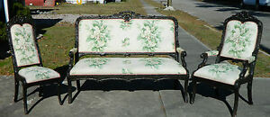 Black Forest Style Late 1800 S Parlor Set Settee Sofa Arm Chair Side Chair