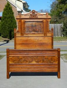High Back Walnut And Burl Victorian Bed Circa 1875 Full Size