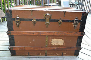 Antique Primitive Flat Top Railroad Steamer Trunk Stage Coach Chest Coffee Table