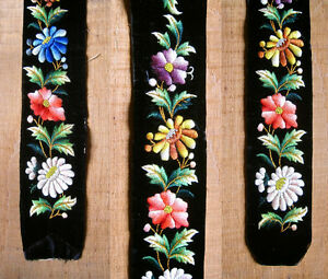 Antique French Embroidered Velvet Band Belt Panel Flowers