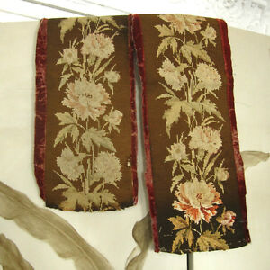 Antique French Needlepoint Panels Velvet Flowers 2 Pieces