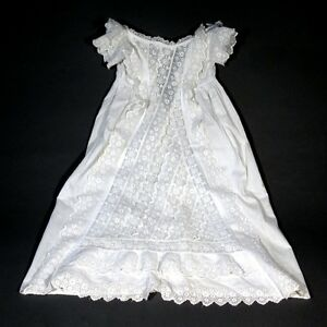 Antique French Christening Gown Embroidery Lace