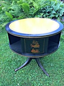 Vintage Drum Table Asian Theme Black Leather Top 30 W X 29 H Chinoiserie Revolve