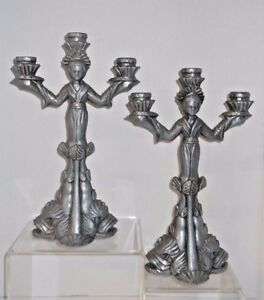 Superb Asian Inspired Metal Figural Candelabras W Sea Urchin Fish Bases 12 1 2