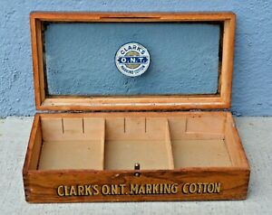 Antique Vtg Store Display Thread Case Showcase Counter Top Oak Clarks O N T