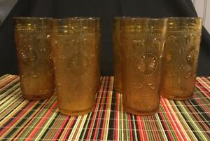 Set Of 6 Mid Century Modern Amber Tea Water Soda Drinking Bar Glasses 5 1 2