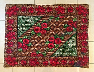 Vintage 60 X 48 Horse Sleigh Carriage Buggy Lap Blanket Roses Strook