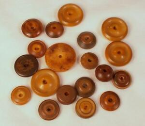 Lot 19 Vintage Whistle Buttons Vegetable Ivory Tagua Nut Celluloid Brown