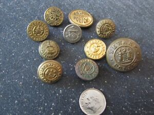 Vintage Police Uniform Buttons Antique Mixed Makers Lot Of 10
