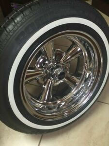 4 P215 70r 15 Inch White Wall Tires 1 2 Ww Band Medium Classic Gangster New
